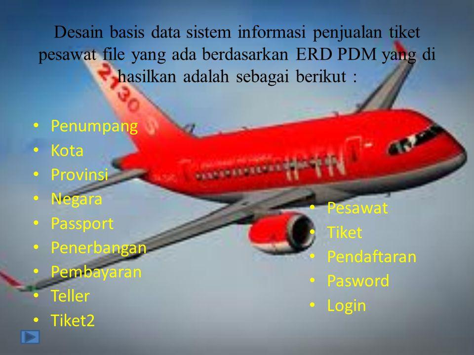 Desain basis data sistem informasi penjualan tiket pesawat file yang ada berdasarkan ERD PDM yang di hasilkan adalah sebagai berikut : • Penumpang • K