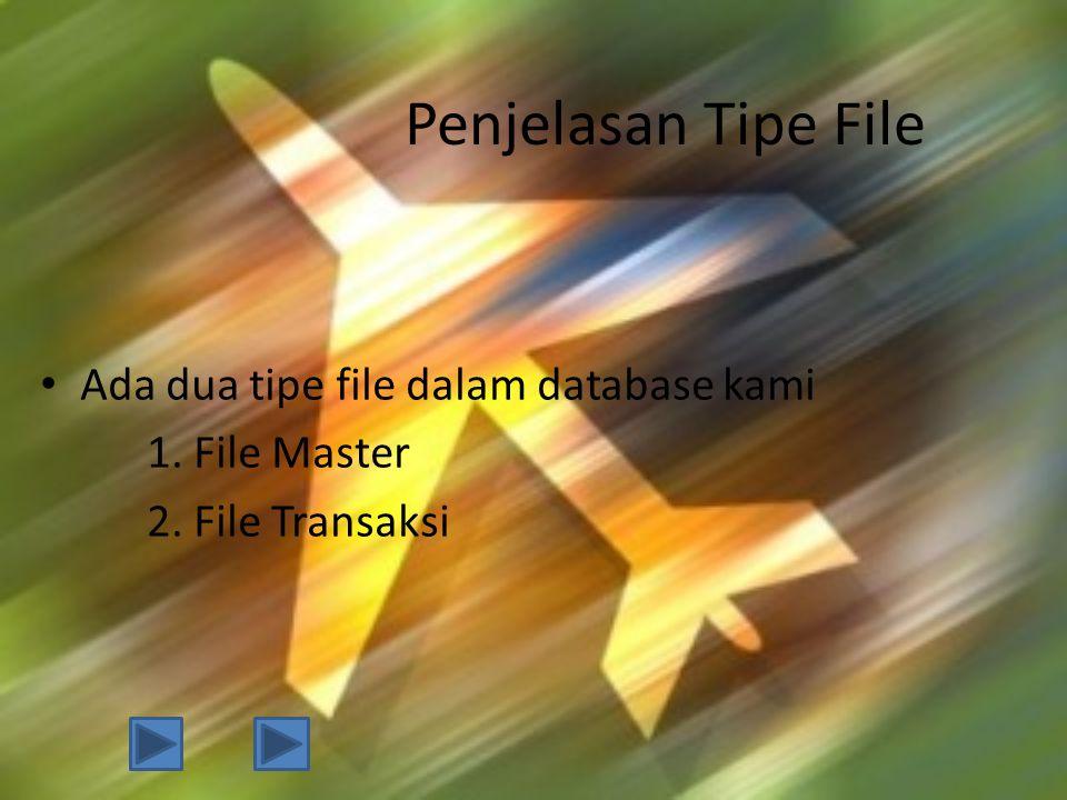 Penjelasan Tipe File • Ada dua tipe file dalam database kami 1. File Master 2. File Transaksi