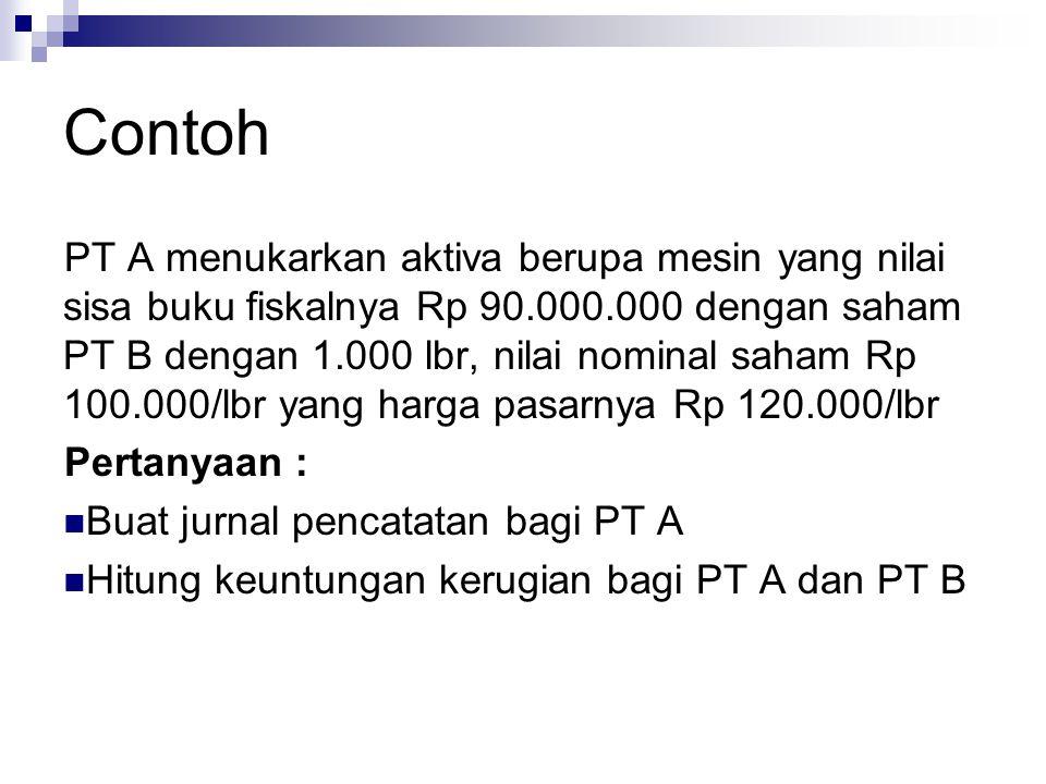 Contoh PT A menukarkan aktiva berupa mesin yang nilai sisa buku fiskalnya Rp 90.000.000 dengan saham PT B dengan 1.000 lbr, nilai nominal saham Rp 100