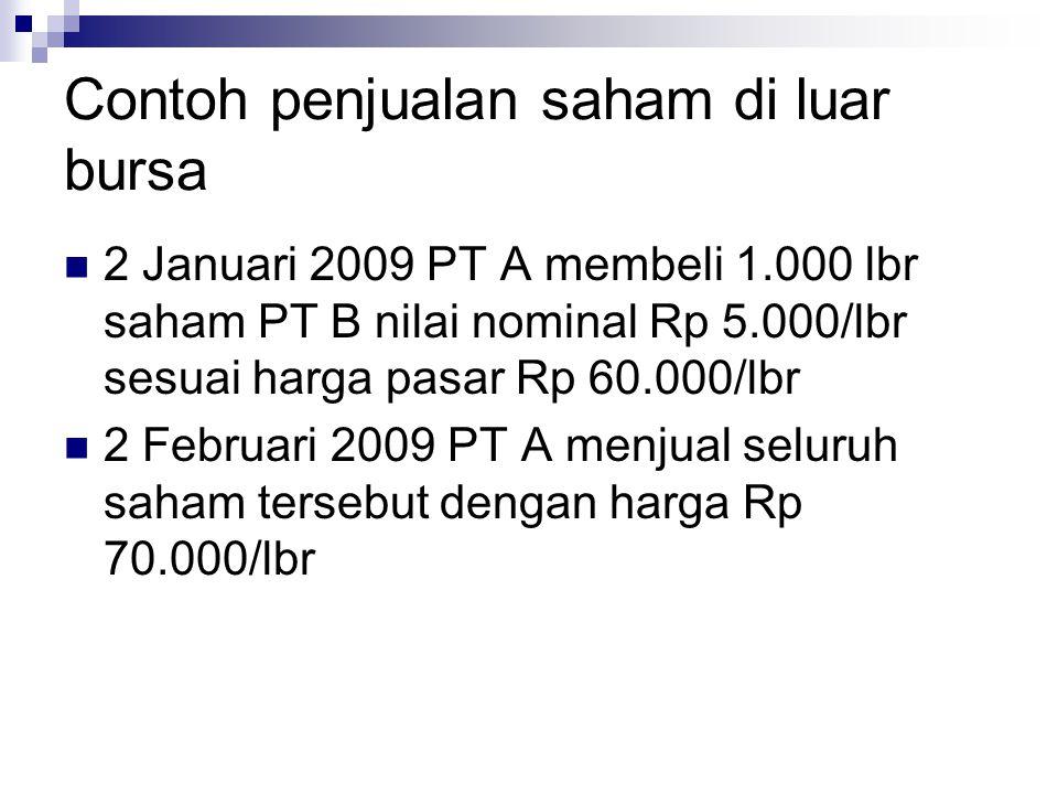 Contoh penjualan saham di luar bursa  2 Januari 2009 PT A membeli 1.000 lbr saham PT B nilai nominal Rp 5.000/lbr sesuai harga pasar Rp 60.000/lbr 