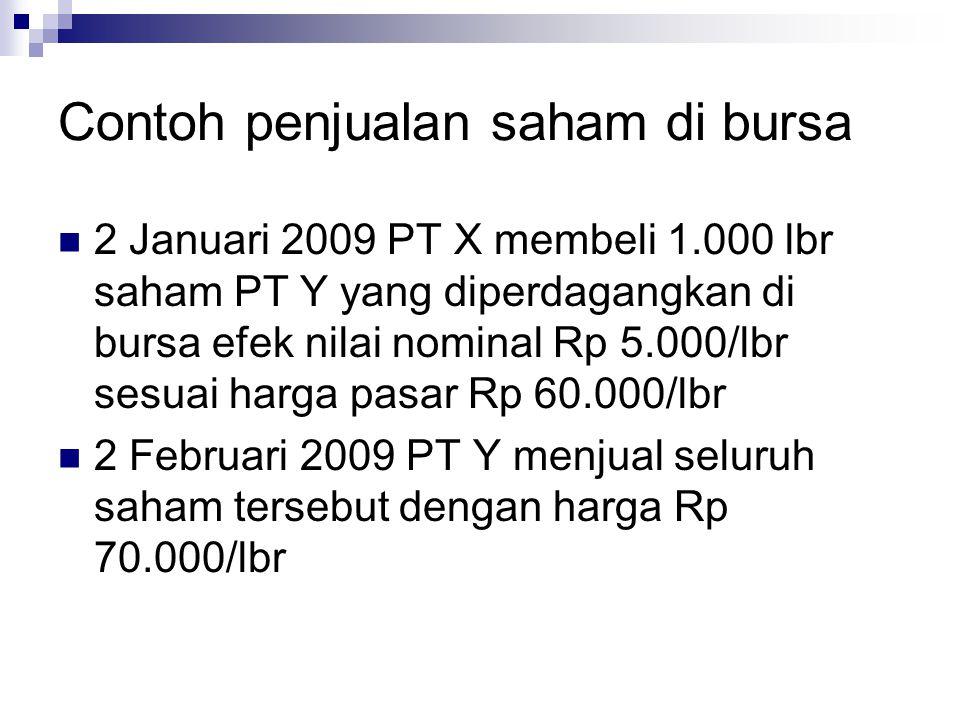 Contoh penjualan saham di bursa  2 Januari 2009 PT X membeli 1.000 lbr saham PT Y yang diperdagangkan di bursa efek nilai nominal Rp 5.000/lbr sesuai