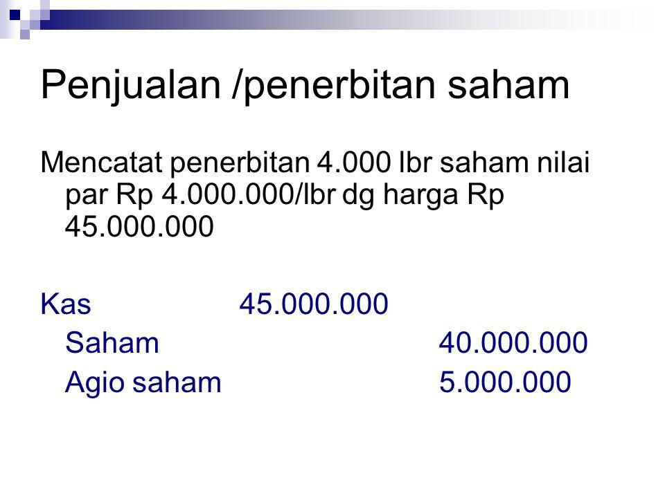 Penjualan /penerbitan saham Mencatat penerbitan 4.000 lbr saham nilai par Rp 4.000.000/lbr dg harga Rp 45.000.000 Kas45.000.000 Saham40.000.000 Agio s