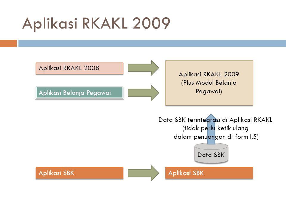 Aplikasi RKAKL 2009 Aplikasi RKAKL 2008 Aplikasi Belanja Pegawai Aplikasi SBK Aplikasi RKAKL 2009 (Plus Modul Belanja Pegawai) Aplikasi RKAKL 2009 (Plus Modul Belanja Pegawai) Aplikasi SBK Data SBK Data SBK terintegrasi di Aplikasi RKAKL (tidak perlu ketik ulang dalam penuangan di form I.5)