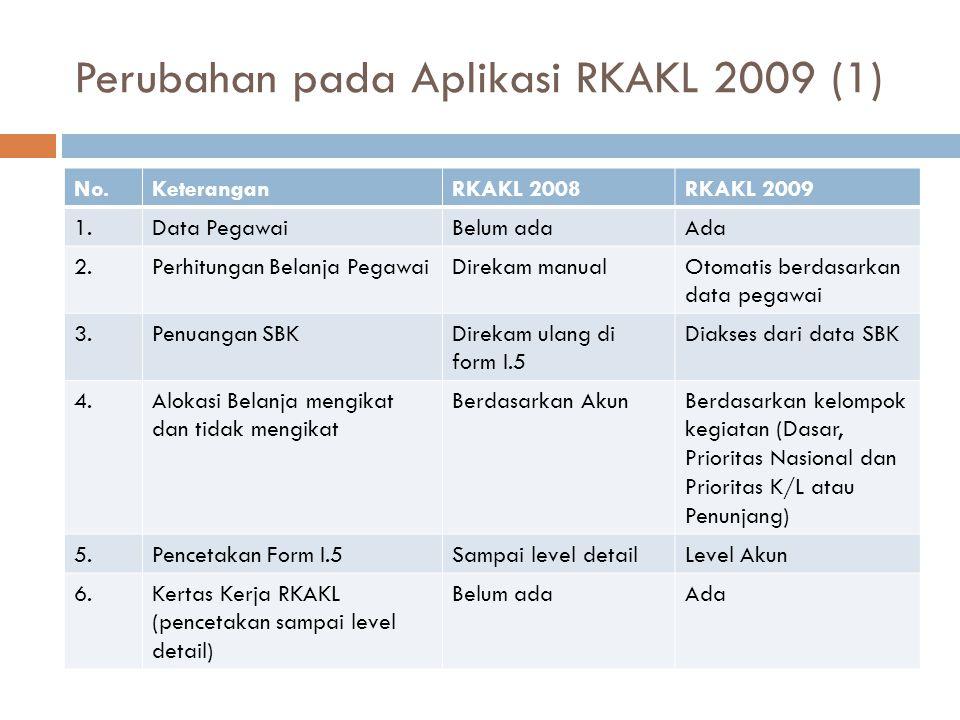 Perubahan pada Aplikasi RKAKL 2009 (1) No.KeteranganRKAKL 2008RKAKL 2009 1.Data PegawaiBelum adaAda 2.Perhitungan Belanja PegawaiDirekam manualOtomatis berdasarkan data pegawai 3.Penuangan SBKDirekam ulang di form I.5 Diakses dari data SBK 4.Alokasi Belanja mengikat dan tidak mengikat Berdasarkan AkunBerdasarkan kelompok kegiatan (Dasar, Prioritas Nasional dan Prioritas K/L atau Penunjang) 5.Pencetakan Form I.5Sampai level detailLevel Akun 6.Kertas Kerja RKAKL (pencetakan sampai level detail) Belum adaAda
