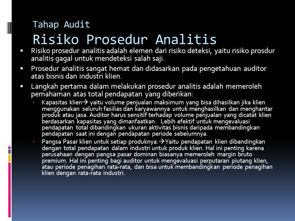 Tahap Audit Risiko Prosedur Analitis  Risiko prosedur analitis adalah elemen dari risiko deteksi, yaitu risiko prosdur analitis gagal untuk mendeteks