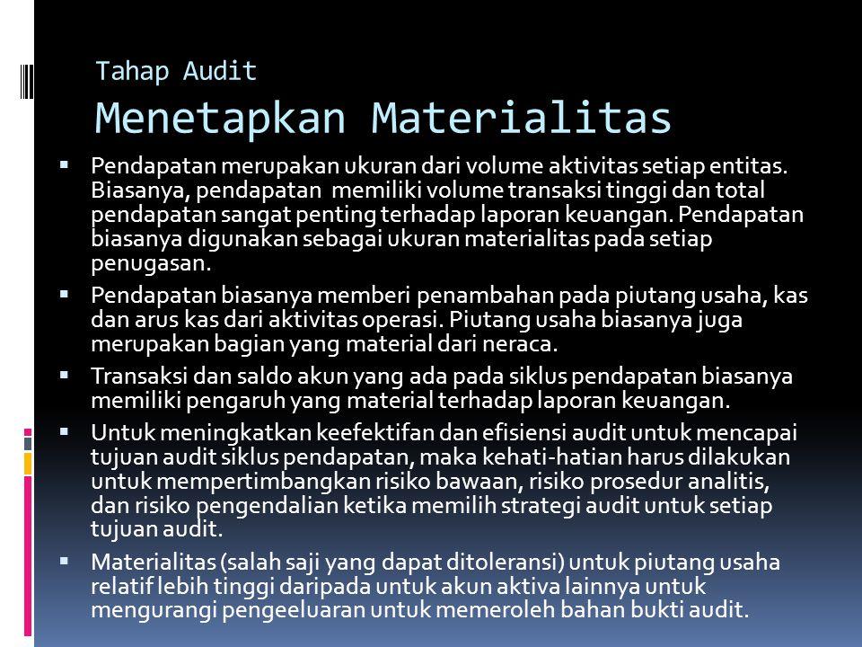 Tahap Audit Menetapkan Materialitas  Pendapatan merupakan ukuran dari volume aktivitas setiap entitas. Biasanya, pendapatan memiliki volume transaksi