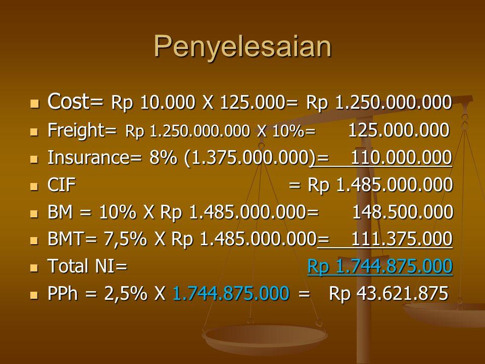 Penyelesaian  Cost= Rp 10.000 X 125.000= Rp 1.250.000.000  Freight= Rp 1.250.000.000 X 10%= 125.000.000  Insurance= 8% (1.375.000.000)= 110.000.000