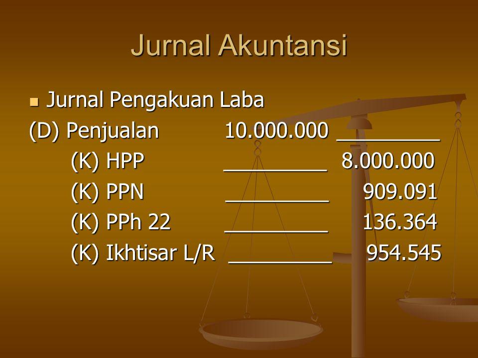 Jurnal Akuntansi  Jurnal Pengakuan Laba (D) Penjualan 10.000.000 _________ (K) HPP _________ 8.000.000 (K) PPN _________ 909.091 (K) PPh 22 _________