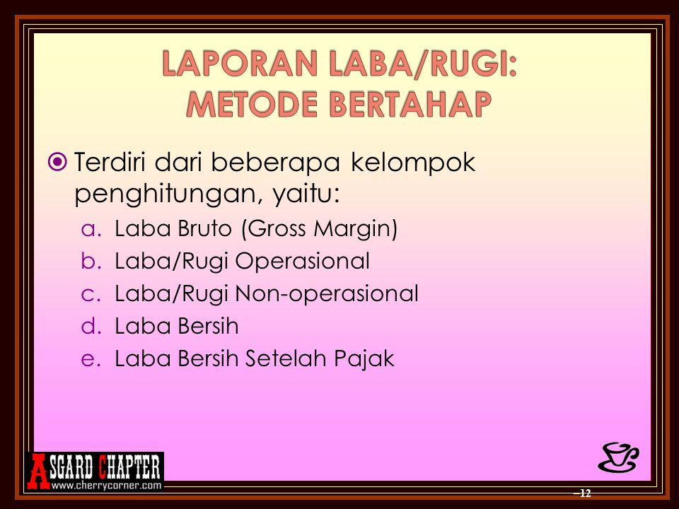  Terdiri dari beberapa kelompok penghitungan, yaitu: a.Laba Bruto (Gross Margin) b.Laba/Rugi Operasional c.Laba/Rugi Non-operasional d.Laba Bersih e.