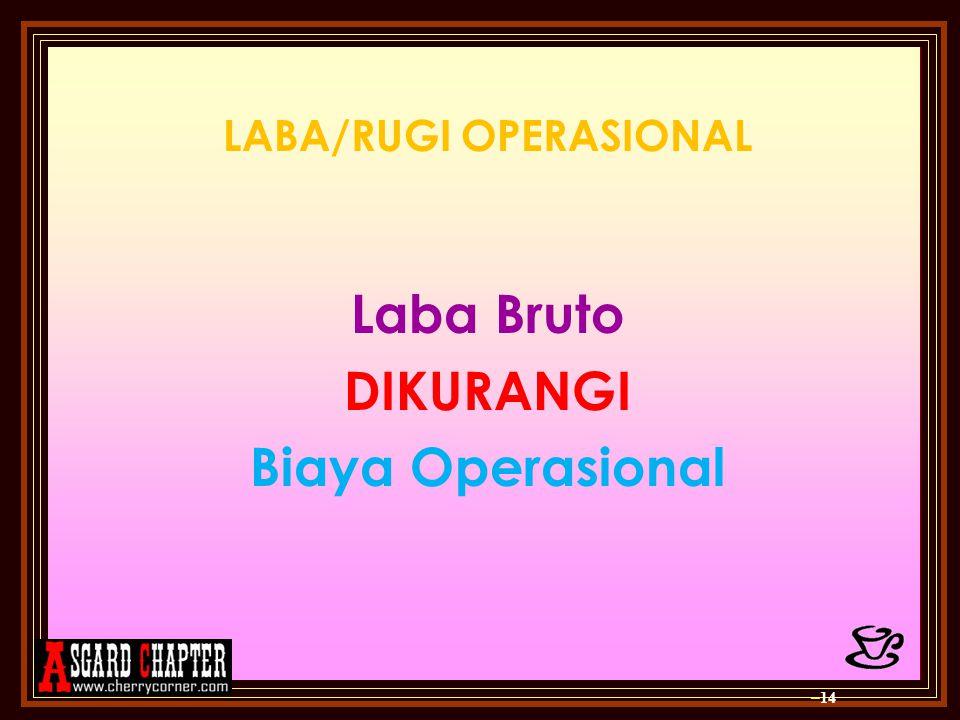 LABA/RUGI OPERASIONAL Laba Bruto DIKURANGI Biaya Operasional – 14