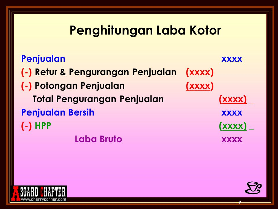 Penghitungan Laba Kotor Penjualan xxxx (-) Retur & Pengurangan Penjualan(xxxx) (-) Potongan Penjualan (xxxx) Total Pengurangan Penjualan (xxxx) _ Penj