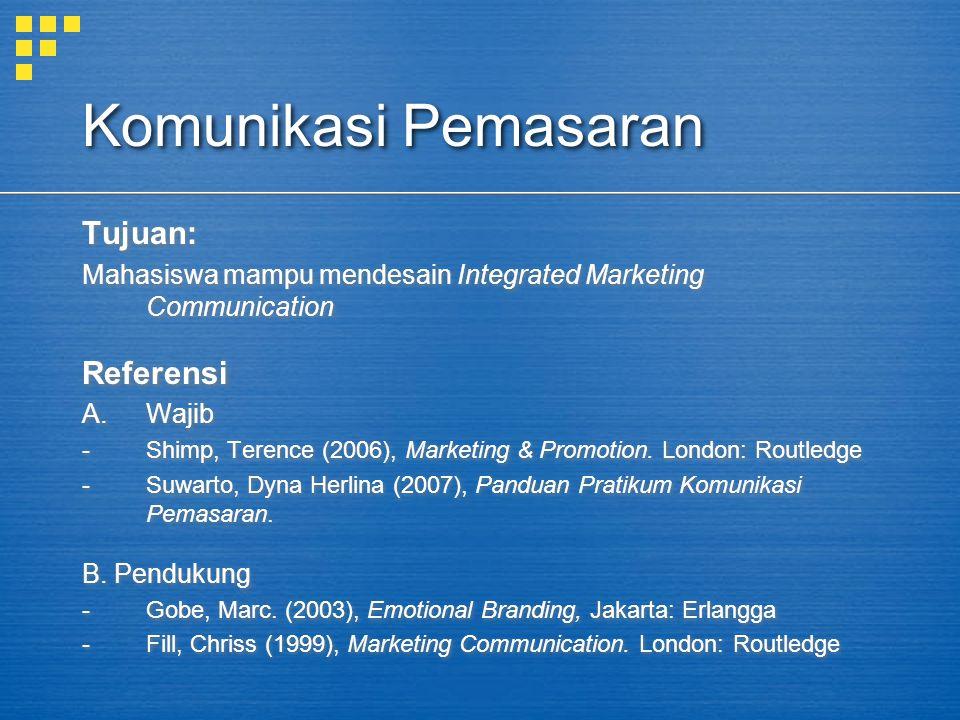 Komunikasi Pemasaran Pokok Bahasan: 1.Pembentuk IMC abad 21 2.Teori pemahaman informasi 3.Merancang merek dan logo kontemporer 4.Merancang kemasan 5.Merancang POP 6.Merancang Penelitian Sederhana 7.Merancang pesan iklan 8.Merancang siaran pers & advertorial (MPR) 9.Merancang penjualan langsung 10.Merancang promosi penjualan 11.Etika komunikasi pemasaran Pokok Bahasan: 1.Pembentuk IMC abad 21 2.Teori pemahaman informasi 3.Merancang merek dan logo kontemporer 4.Merancang kemasan 5.Merancang POP 6.Merancang Penelitian Sederhana 7.Merancang pesan iklan 8.Merancang siaran pers & advertorial (MPR) 9.Merancang penjualan langsung 10.Merancang promosi penjualan 11.Etika komunikasi pemasaran