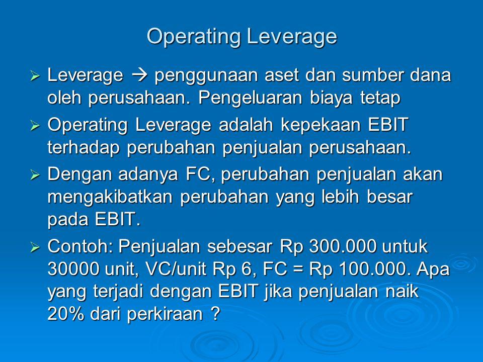 Operating Leverage  Leverage  penggunaan aset dan sumber dana oleh perusahaan. Pengeluaran biaya tetap  Operating Leverage adalah kepekaan EBIT ter
