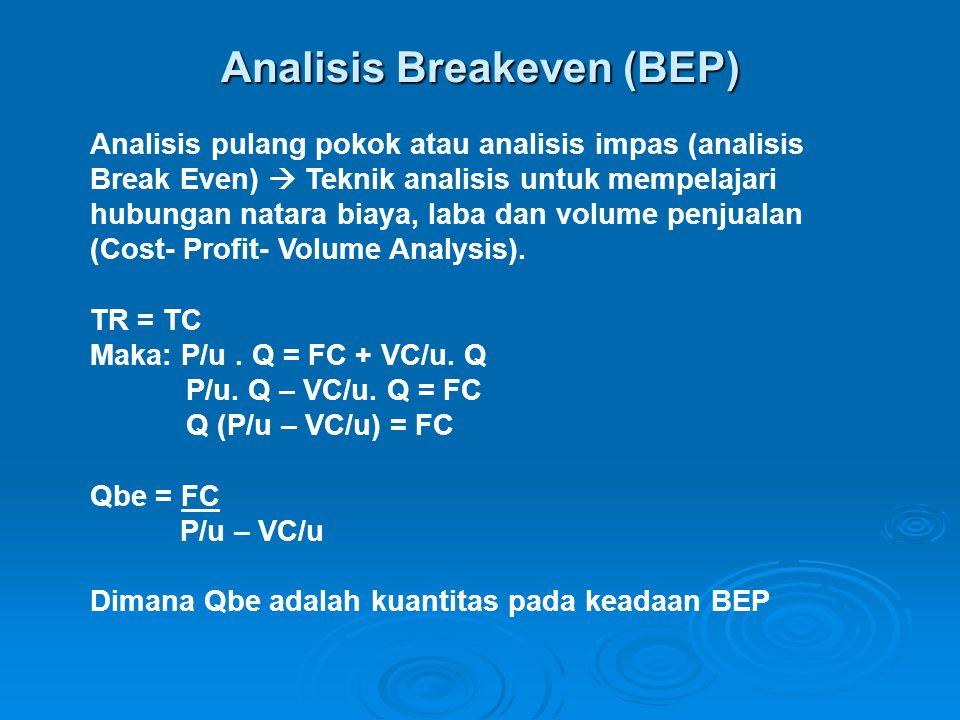 Analisis Breakeven (BEP) Analisis pulang pokok atau analisis impas (analisis Break Even)  Teknik analisis untuk mempelajari hubungan natara biaya, la
