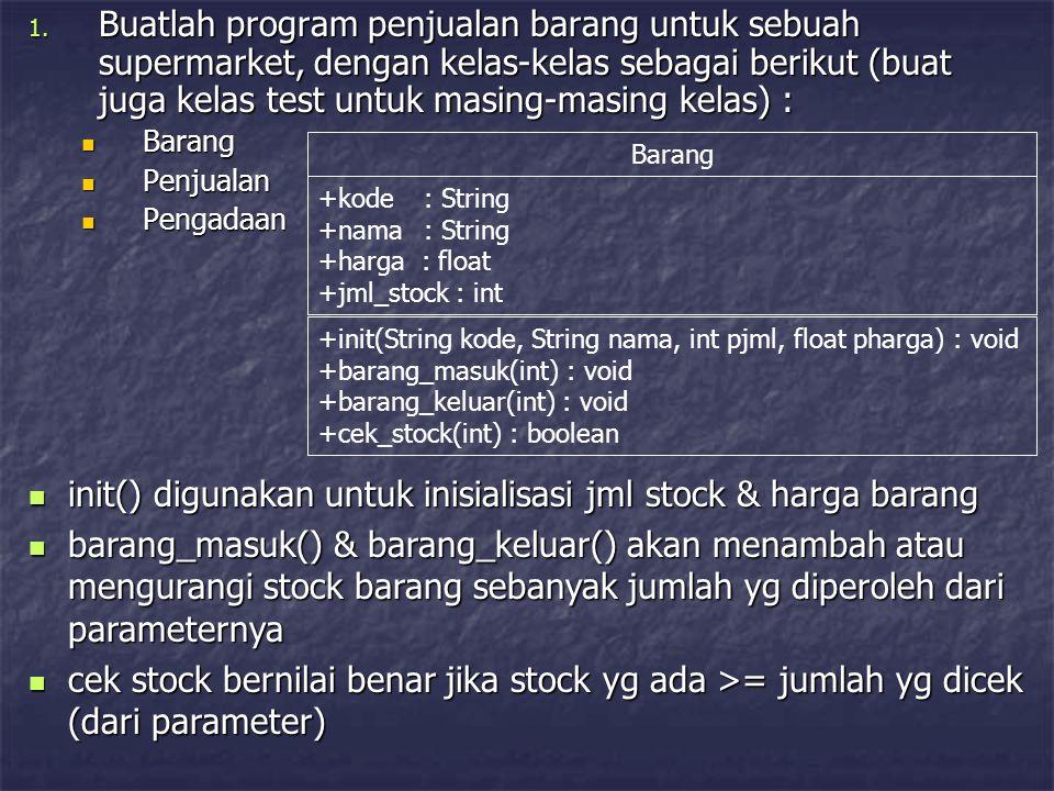 Penjualan +jml_jual : int[] +idx_brg : int[] +persen_discount : float +total_penjualan : float +hitung_rp_disc() : float  Penjualan : kelas yg menangani penjualan pada seorang konsumen (1 struk tertentu), 1 struk bisa berisi beberapa item barang  jml_jual : jumlah barang yg dibeli oleh konsumen untuk masing-masing barang  idx_brg : indeks (pengganti kode supaya mudah) masing2 barang yg dibeli konsumen  persen_discount : jumlah discount yg ditentukan dari total_penjualan, sbb :  total_penjualan >= 100000 : 5%  total_penjualan >= 500000 : 10%  total_penjualan >= 1000000 : 15%  total_penjualan : total penjualan pada seorang konsumen (1 struk)
