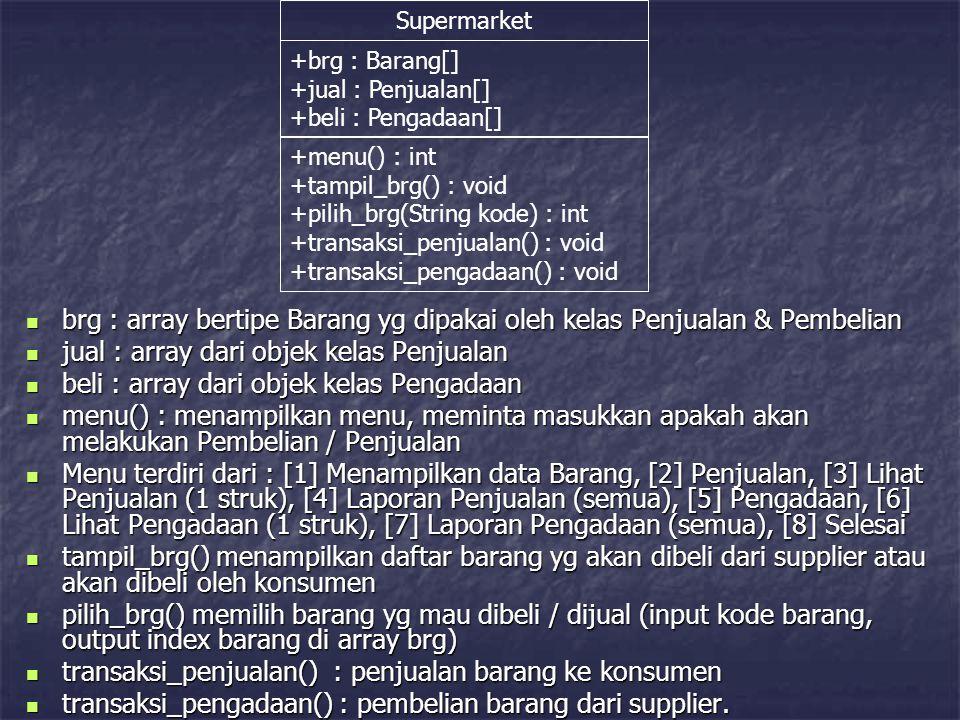 Supermarket +brg : Barang[] +jual : Penjualan[] +beli : Pengadaan[] +menu() : int +tampil_brg() : void +pilih_brg(String kode) : int +transaksi_penjua