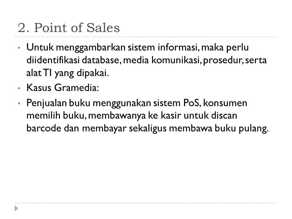 2. Point of Sales • Untuk menggambarkan sistem informasi, maka perlu diidentifikasi database, media komunikasi, prosedur, serta alat TI yang dipakai.