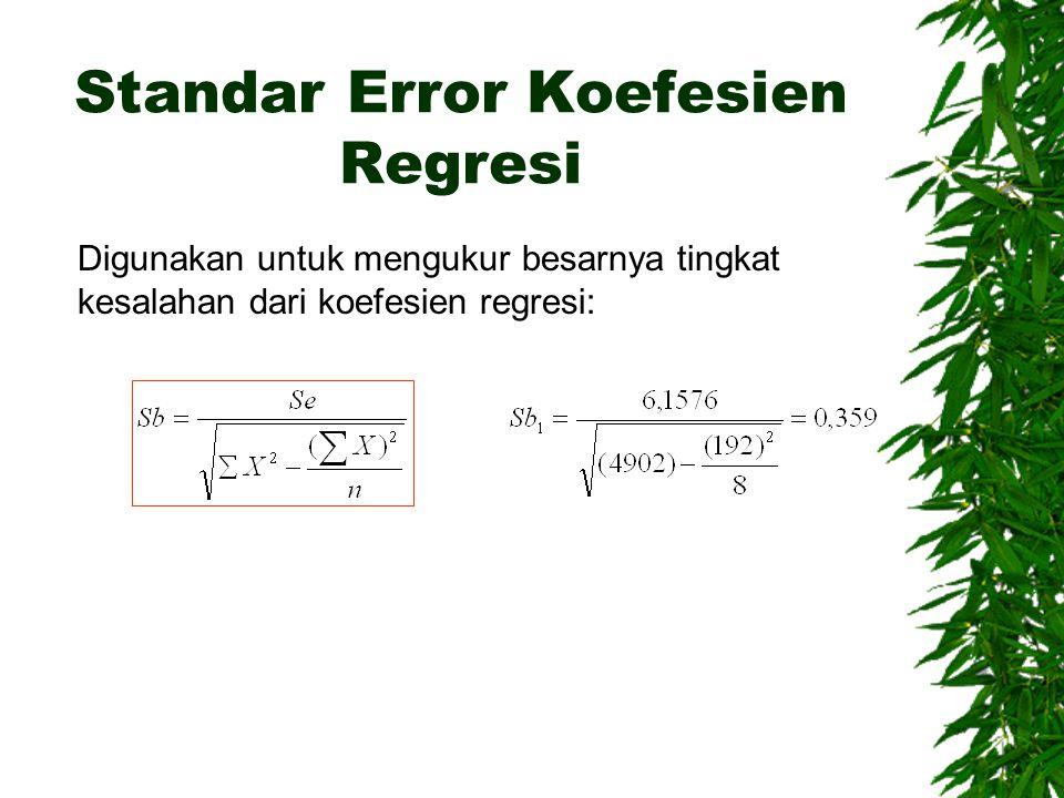 Standar Error Koefesien Regresi Digunakan untuk mengukur besarnya tingkat kesalahan dari koefesien regresi: