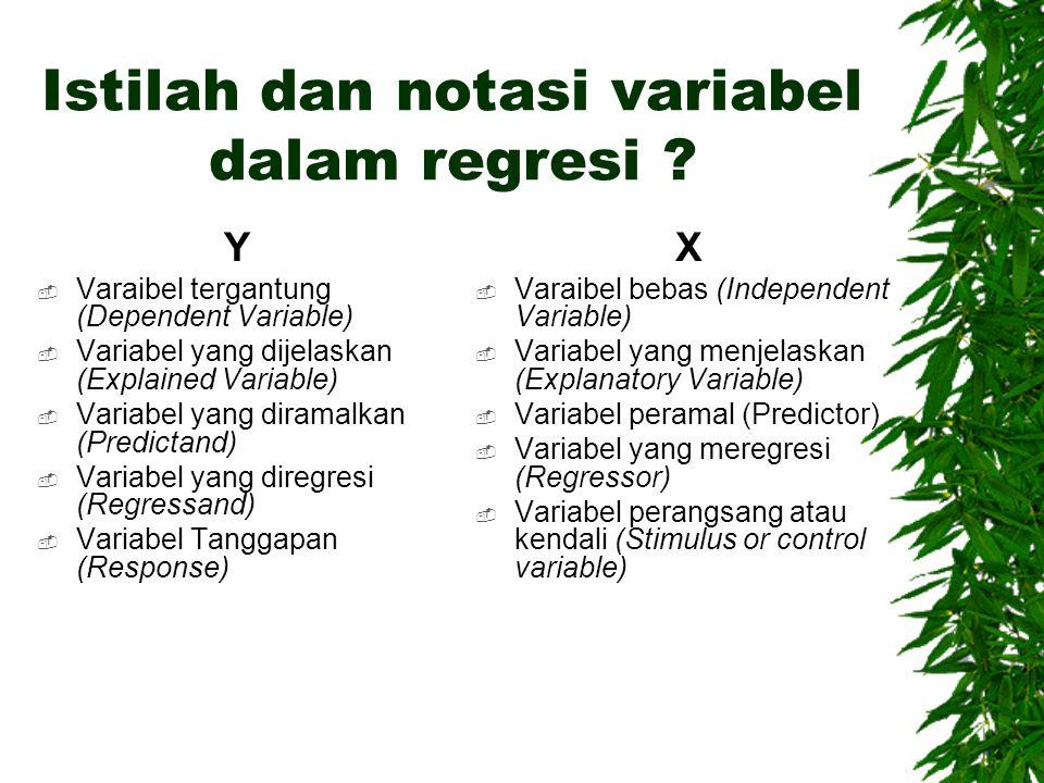 Istilah dan notasi variabel dalam regresi ? Y  Varaibel tergantung (Dependent Variable)  Variabel yang dijelaskan (Explained Variable)  Variabel ya
