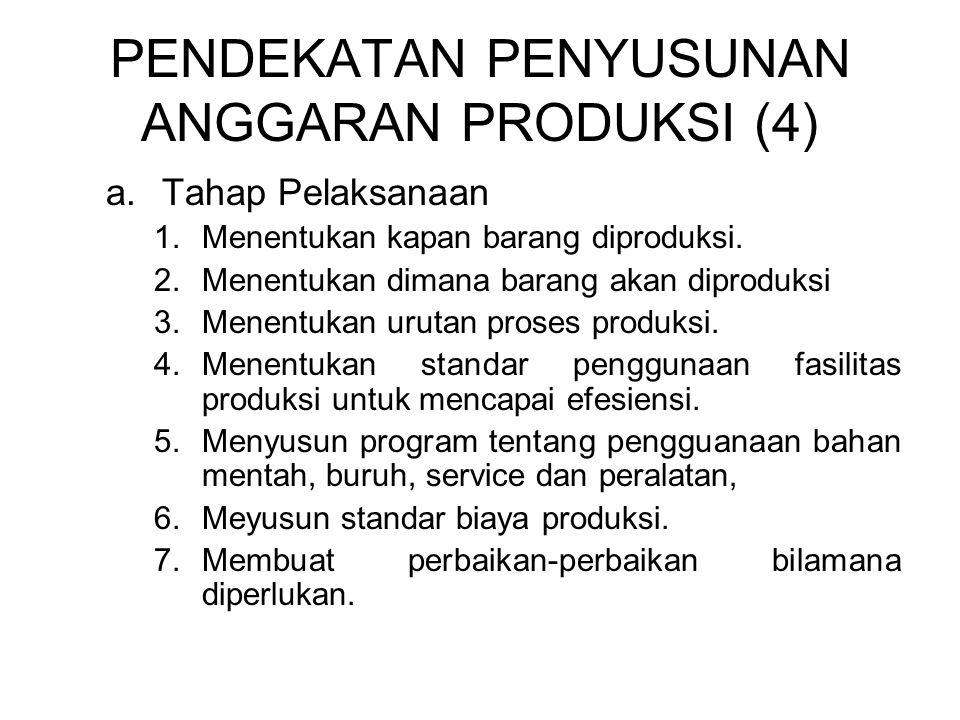 PENDEKATAN PENYUSUNAN ANGGARAN PRODUKSI (4) a.Tahap Pelaksanaan 1.Menentukan kapan barang diproduksi. 2.Menentukan dimana barang akan diproduksi 3.Men