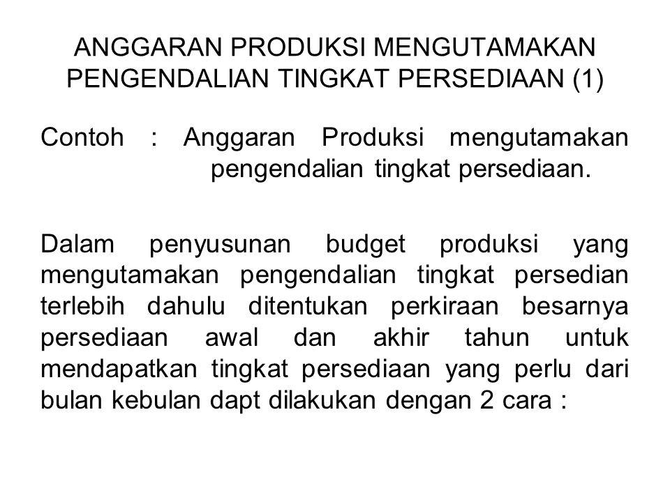 ANGGARAN PRODUKSI MENGUTAMAKAN PENGENDALIAN TINGKAT PERSEDIAAN (1) Contoh : Anggaran Produksi mengutamakan pengendalian tingkat persediaan. Dalam peny
