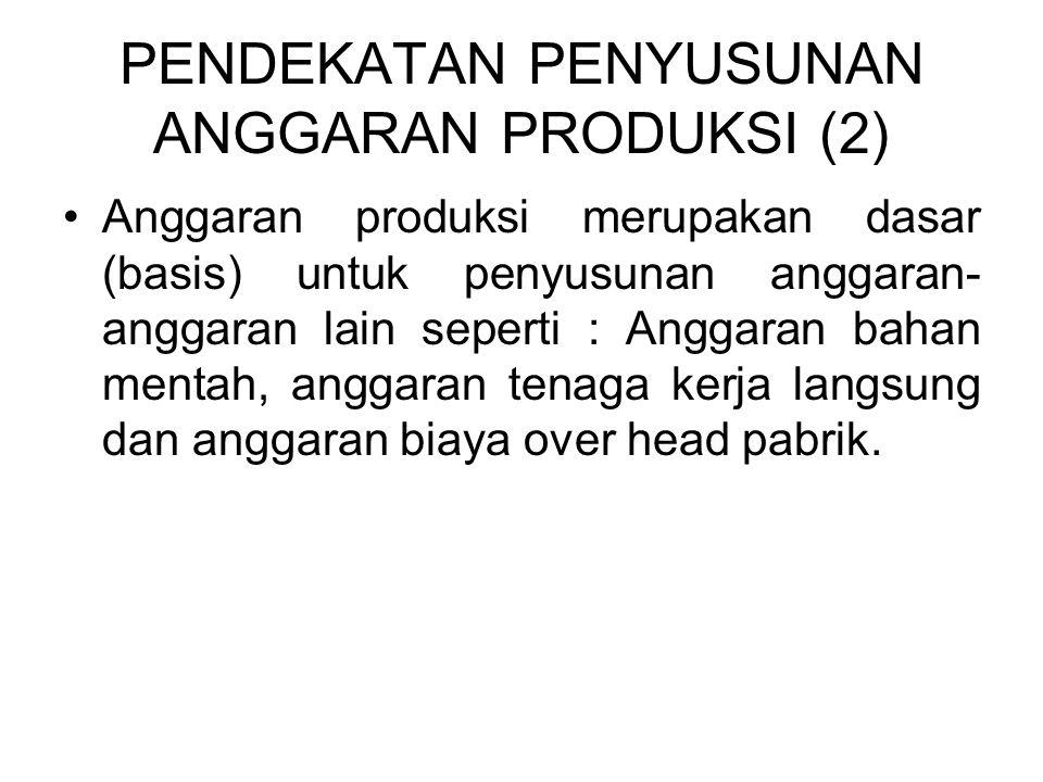 PENDEKATAN PENYUSUNAN ANGGARAN PRODUKSI (2) •Anggaran produksi merupakan dasar (basis) untuk penyusunan anggaran- anggaran lain seperti : Anggaran bah