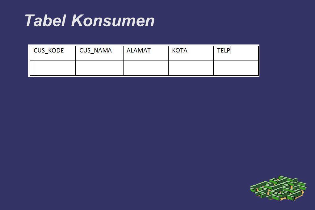 Tabel Konsumen