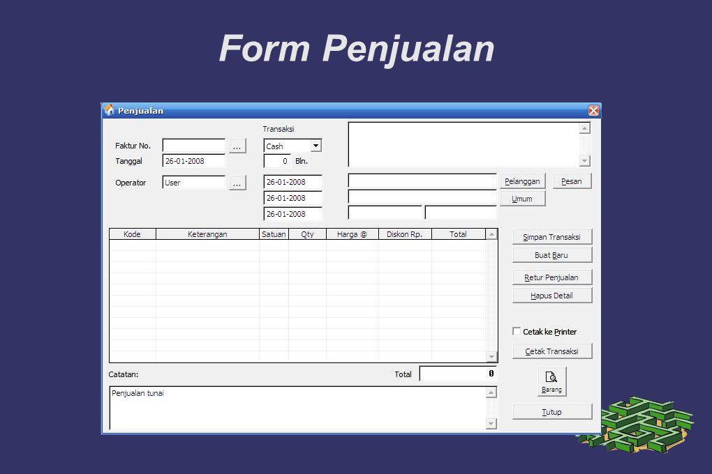 Form Penjualan