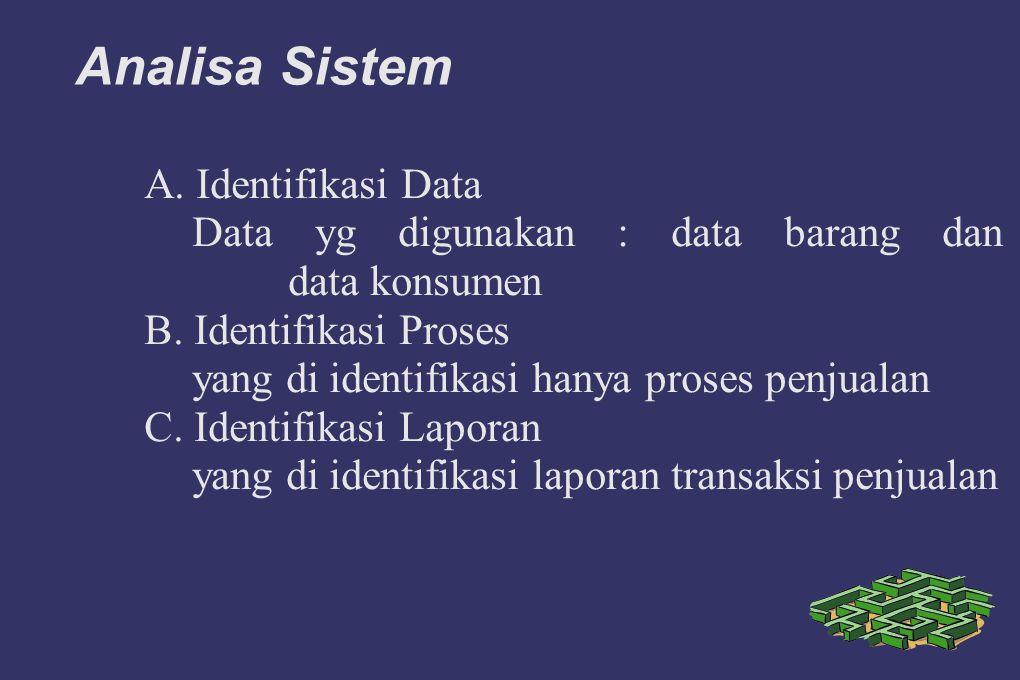 Analisa Sistem A. Identifikasi Data Data yg digunakan : data barang dan data konsumen B. Identifikasi Proses yang di identifikasi hanya proses penjual