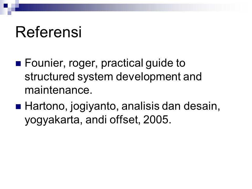 Referensi  Founier, roger, practical guide to structured system development and maintenance.  Hartono, jogiyanto, analisis dan desain, yogyakarta, a