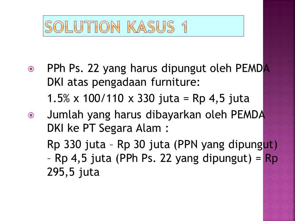  PPh Ps. 22 yang harus dipungut oleh PEMDA DKI atas pengadaan furniture: 1.5% x 100/110 x 330 juta = Rp 4,5 juta  Jumlah yang harus dibayarkan oleh