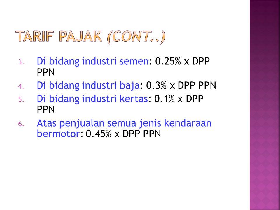 3. Di bidang industri semen: 0.25% x DPP PPN 4. Di bidang industri baja: 0.3% x DPP PPN 5. Di bidang industri kertas: 0.1% x DPP PPN 6. Atas penjualan