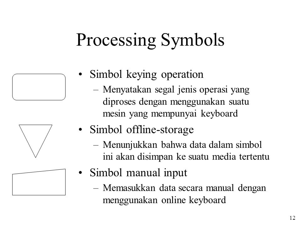12 Processing Symbols •Simbol keying operation –Menyatakan segal jenis operasi yang diproses dengan menggunakan suatu mesin yang mempunyai keyboard •Simbol offline-storage –Menunjukkan bahwa data dalam simbol ini akan disimpan ke suatu media tertentu •Simbol manual input –Memasukkan data secara manual dengan menggunakan online keyboard