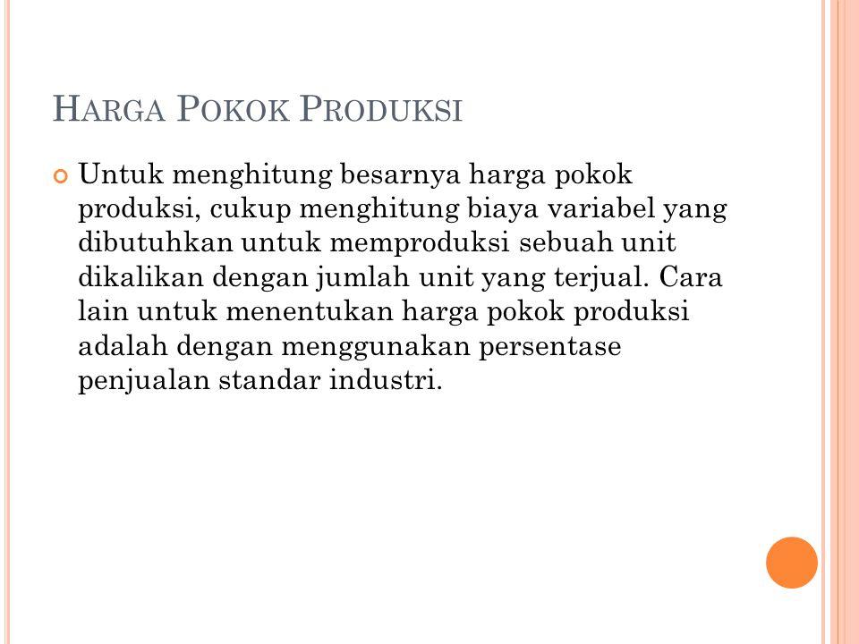 H ARGA P OKOK P RODUKSI Untuk menghitung besarnya harga pokok produksi, cukup menghitung biaya variabel yang dibutuhkan untuk memproduksi sebuah unit dikalikan dengan jumlah unit yang terjual.