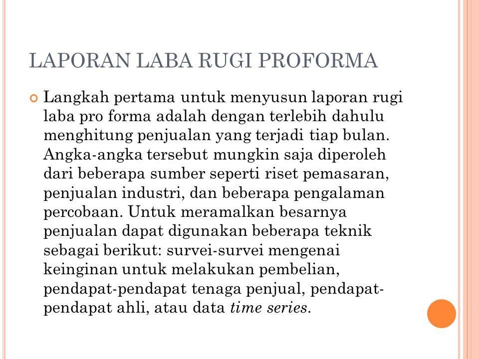 LAPORAN LABA RUGI PROFORMA Langkah pertama untuk menyusun laporan rugi laba pro forma adalah dengan terlebih dahulu menghitung penjualan yang terjadi tiap bulan.