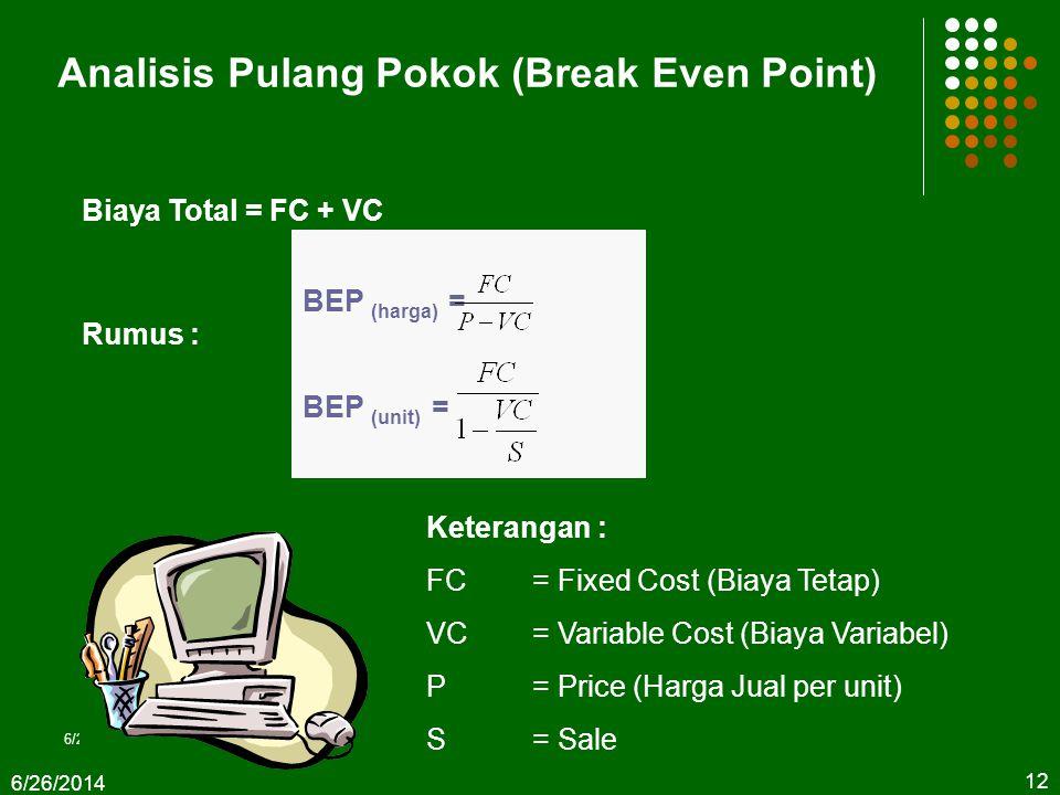  Break event point BEP merupakan titik impas usaha. Dari nilai BEP dapat diketahui pada tingkat produksi dan harga berapa suatu usaha peternakan tida