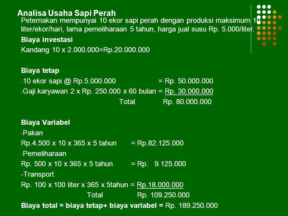 6/26/2014 12 Analisis Pulang Pokok (Break Even Point) Biaya Total = FC + VC Rumus : BEP (harga) = BEP (unit) = Keterangan : FC= Fixed Cost (Biaya Teta