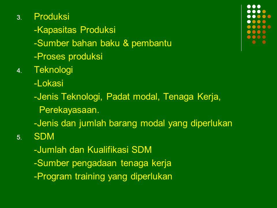 3.Produksi -Kapasitas Produksi -Sumber bahan baku & pembantu -Proses produksi 4.
