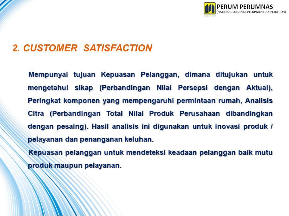 2.CUSTOMER SATISFACTION Mempunyai tujuan Kepuasan Pelanggan, dimana ditujukan untuk mengetahui sikap (Perbandingan Nilai Persepsi dengan Aktual), Peri