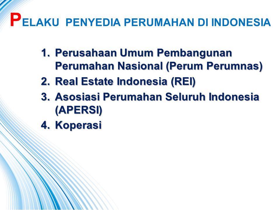 P ELAKU PENYEDIA PERUMAHAN DI INDONESIA 1.Perusahaan Umum Pembangunan Perumahan Nasional (Perum Perumnas) 2.Real Estate Indonesia (REI) 3.Asosiasi Per