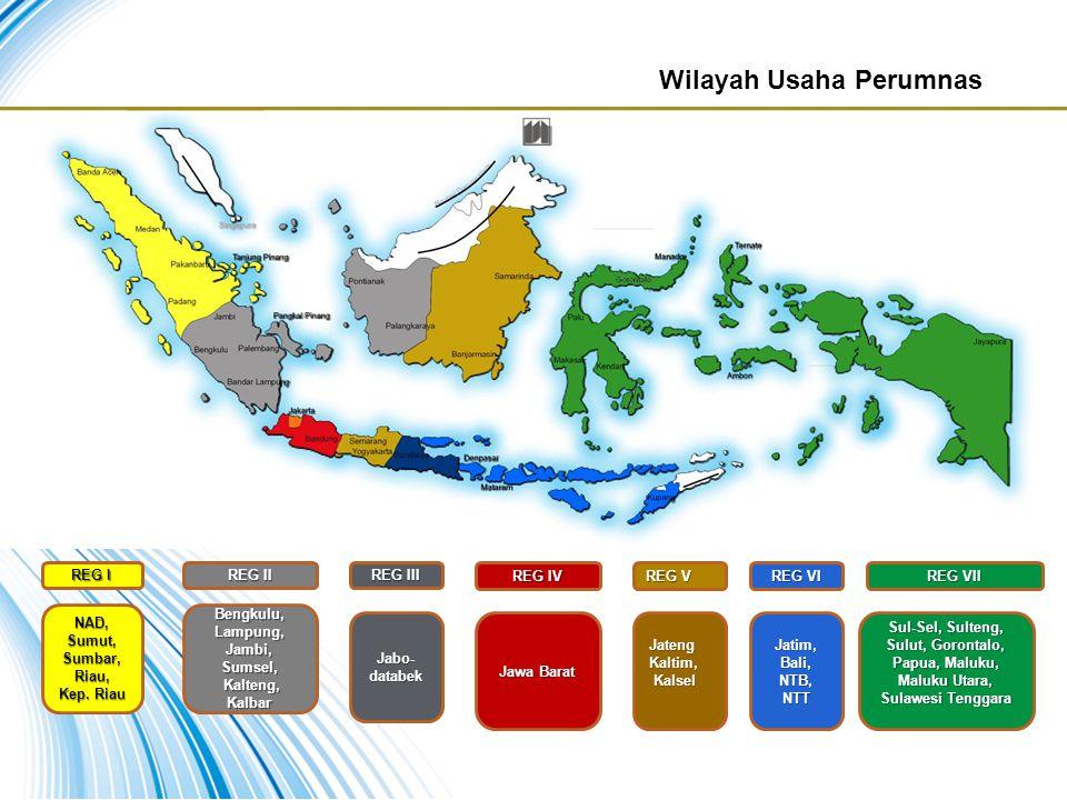Wilayah Usaha Perumnas REG I REG II REG III REG V REG VI REG VII REG IV NAD, Sumut, Sumbar, Riau, Kep. Riau Bengkulu, Lampung, Jambi, Sumsel, Kalteng,