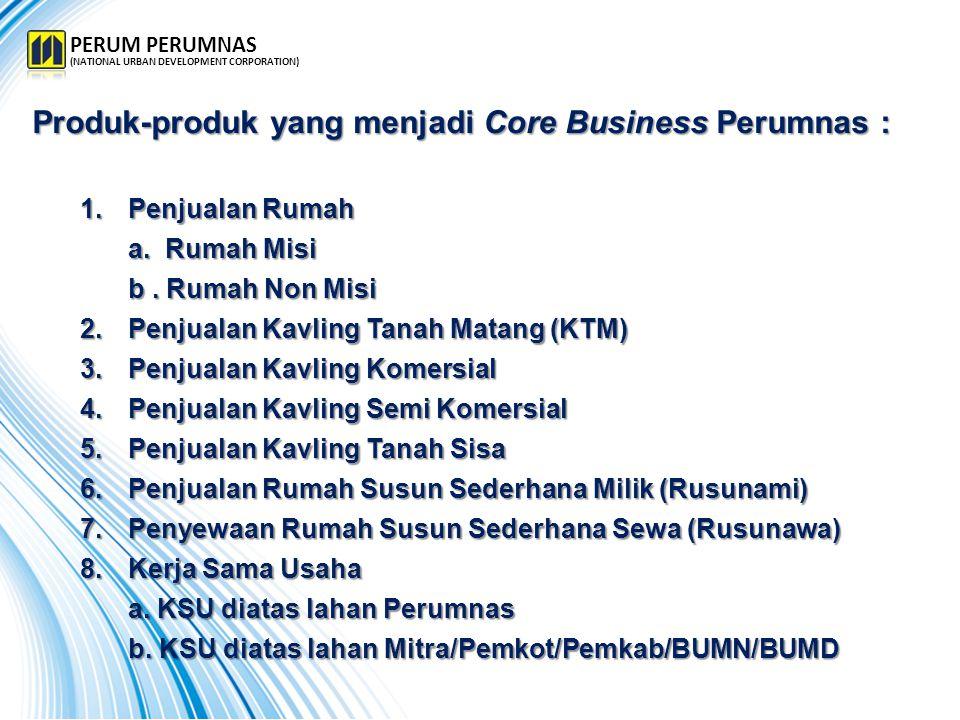 Produk-produk yang menjadi Core Business Perumnas : 1.Penjualan Rumah a. Rumah Misi b. Rumah Non Misi b. Rumah Non Misi 2.Penjualan Kavling Tanah Mata