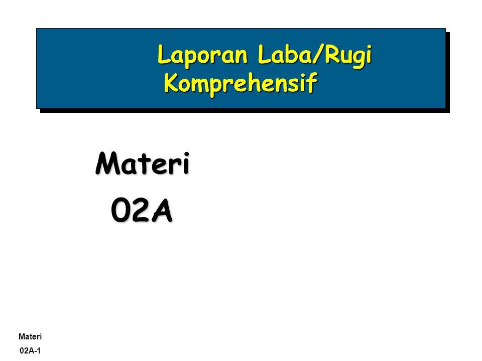 Materi 02A-1 Laporan Laba/Rugi Komprehensif Laporan Laba/Rugi Komprehensif Materi02A