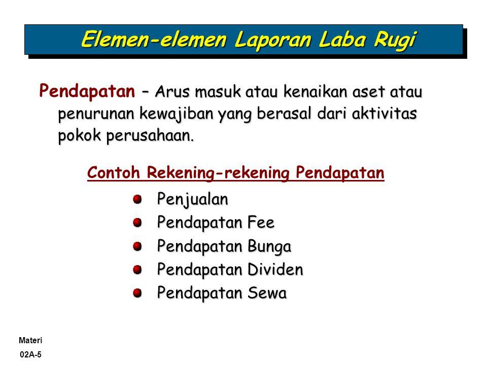 Materi 02A-5 Elemen-elemen Laporan Laba Rugi – Arus masuk atau kenaikan aset atau penurunan kewajiban yang berasal dari aktivitas pokok perusahaan. Pe