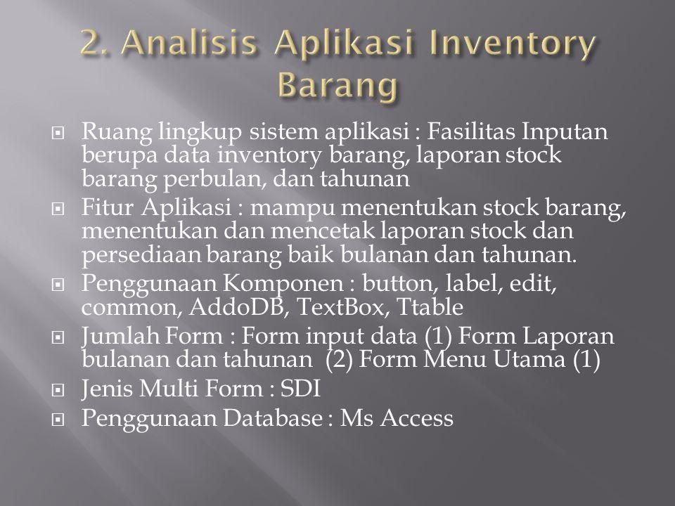 Ruang lingkup sistem aplikasi : Fasilitas Inputan berupa data inventory barang, laporan stock barang perbulan, dan tahunan  Fitur Aplikasi : mampu