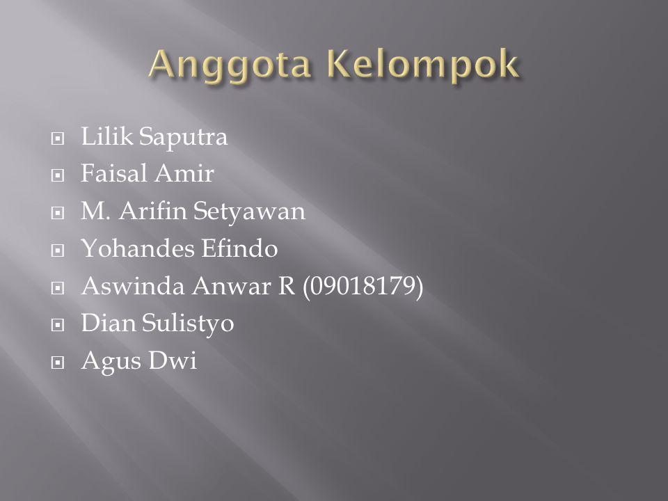  Lilik Saputra  Faisal Amir  M. Arifin Setyawan  Yohandes Efindo  Aswinda Anwar R (09018179)  Dian Sulistyo  Agus Dwi