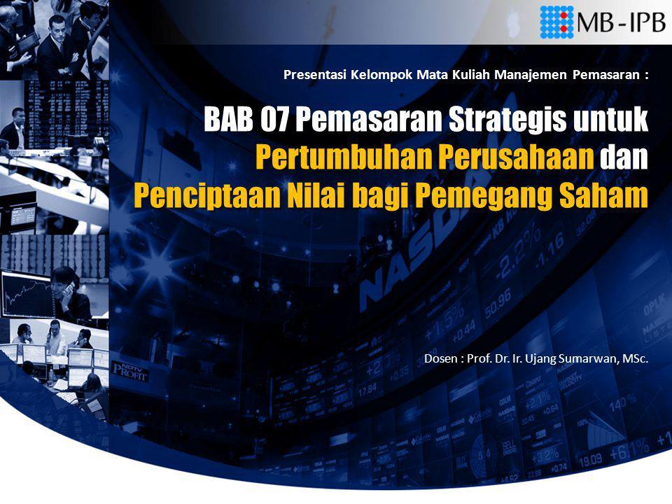 BAB 07 Pemasaran Strategis untuk Pertumbuhan Perusahaan dan Penciptaan Nilai bagi Pemegang Saham BAB 07 Pemasaran Strategis untuk Pertumbuhan Perusaha