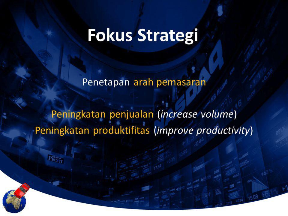 Penetapan arah pemasaran Peningkatan penjualan (increase volume) Peningkatan produktifitas (improve productivity) Fokus Strategi