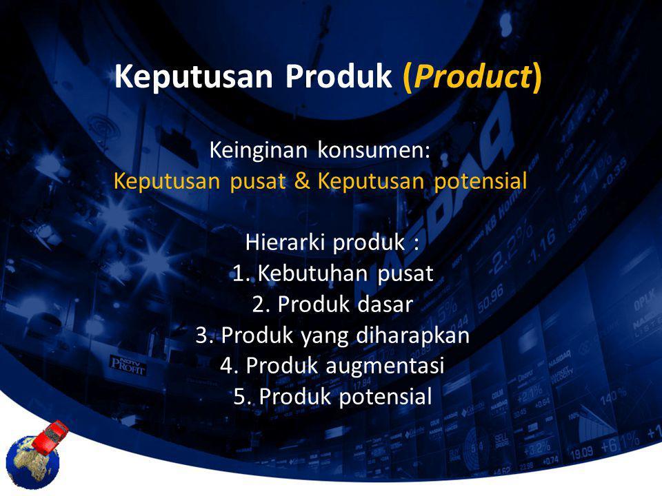 Keinginan konsumen: Keputusan pusat & Keputusan potensial Hierarki produk : 1. Kebutuhan pusat 2. Produk dasar 3. Produk yang diharapkan 4. Produk aug