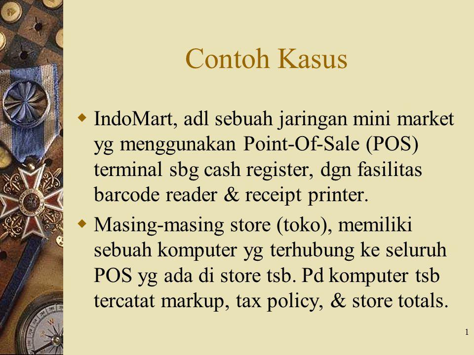 1 Contoh Kasus  IndoMart, adl sebuah jaringan mini market yg menggunakan Point-Of-Sale (POS) terminal sbg cash register, dgn fasilitas barcode reader